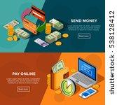 two horizontal  bank service... | Shutterstock . vector #538128412