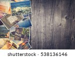 travel photo collage on wooden