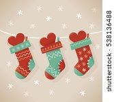 christmas socks stuffed with... | Shutterstock .eps vector #538136488