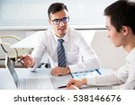 young businessmen discussing... | Shutterstock . vector #538146676
