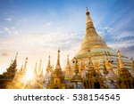 Shwedagon pagoda at sunset, Yangon Myanmar