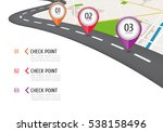 location icons on the map. road ... | Shutterstock .eps vector #538158496