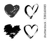 set of hand drawn grunge hearts ... | Shutterstock .eps vector #538160485