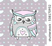 cute owl bird  seamless heart... | Shutterstock .eps vector #538170952