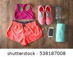 fitness equipment on wooden...   Shutterstock . vector #538187008