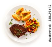 grilled steak  baked potatoes...   Shutterstock . vector #538198642