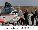 Small photo of VELIKA GORICA, CROATIA - DECEMBER 10, 2016: On the occasion of the 25th anniversary of the Croatian Air Force and Air Defence, was held Open Day. Airplane propeller of Zlin 242 L