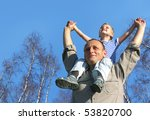 senior with child on shoulders... | Shutterstock . vector #53820700