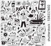 art tools doodles set   Shutterstock .eps vector #538217602