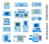 retro gadgets from 90s in flat...