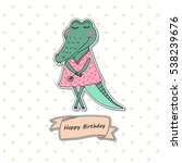 Cute Alligator Girl Standing...