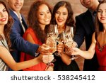 people toasting with glasses of ... | Shutterstock . vector #538245412