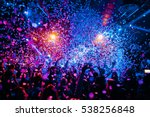 silhouettes of concert crowd in ... | Shutterstock . vector #538256848