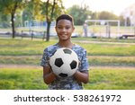 cute boy with football ball on... | Shutterstock . vector #538261972