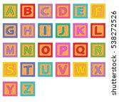 alphabet wooden blocks   vector ... | Shutterstock .eps vector #538272526