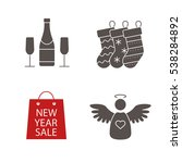 christmas icons set. new year... | Shutterstock .eps vector #538284892