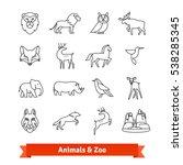 zoo animals   birds. thin line... | Shutterstock .eps vector #538285345