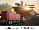 truck transport container on... | Shutterstock . vector #538288675