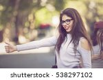 hitch hike in the streets of... | Shutterstock . vector #538297102
