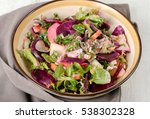 healthy fresh salad with baked... | Shutterstock . vector #538302328