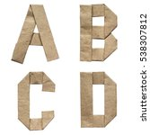 Small photo of Natural brown origami folded craft eco paper alphabet (abc) letters and numbers a, b, c, d
