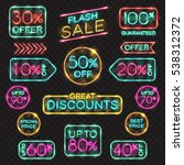 neon signs set. vector price... | Shutterstock .eps vector #538312372