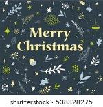 christmas doodle set. vector... | Shutterstock .eps vector #538328275