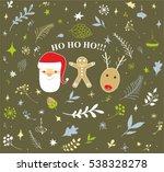 christmas doodle set. vector... | Shutterstock .eps vector #538328278