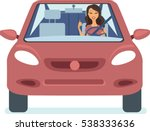 young happy woman driving car... | Shutterstock .eps vector #538333636