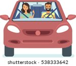 happy couple driving the red... | Shutterstock .eps vector #538333642