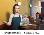 Small photo of Professional positive smiling nippy with tray posing at table of senior customers