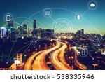 city scape and network... | Shutterstock . vector #538335946