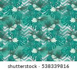 tropical leaves and flowers.... | Shutterstock .eps vector #538339816