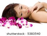a young asian woman lying on... | Shutterstock . vector #5383540