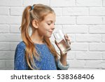 cute pretty girl with glass of... | Shutterstock . vector #538368406