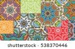 vector patchwork quilt pattern. ... | Shutterstock .eps vector #538370446
