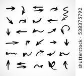 hand drawn arrows  vector set | Shutterstock .eps vector #538375792