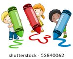 Children Using Crayons   Vector