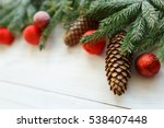 christmas tree branches with... | Shutterstock . vector #538407448