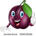 cartoon plum giving thumbs up | Shutterstock .eps vector #538428286
