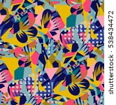 abstract floral elements paper... | Shutterstock .eps vector #538434472