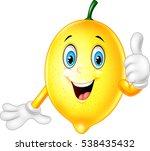 cartoon lemon giving thumbs up | Shutterstock .eps vector #538435432