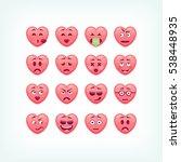 set of heart shape emoticons....   Shutterstock .eps vector #538448935