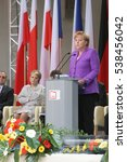 Small photo of KRAKOW, POLAND - JUNE 04, 2009: 20th Anniversary of the collapse of Communism in Central Europe o/p Chancellor of Germany Angela Merkel