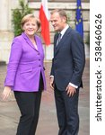 Small photo of KRAKOW, POLAND - JUNE 04, 2009: 20th Anniversary of the collapse of Communism in Central Europe o/p Polish Prime Minister Donald Tusk Chancellor of Germany Angela Merkel