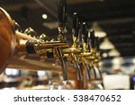 Golden Shiny Beer Taps In Beer...