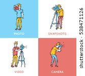 photographer and cameraman... | Shutterstock .eps vector #538471126