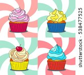 set of four sweet cupcakes on... | Shutterstock .eps vector #538477525