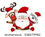 christmas card. santa with... | Shutterstock .eps vector #538479982