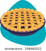 pie with blueberry stuffing and ... | Shutterstock .eps vector #538483522